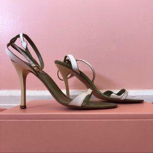 Michel Vivien White Snake Heeled Sandals